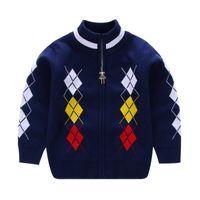 blusas de pescoço zip venda por atacado-2017 Outono Inverno Crianças Meninos blusas Boy's Contraste Bonito Tricô Zip-up Cardigan crianças suéteres cardigan roupas