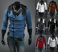 Wholesale man casual clothes for winter for sale - 2017 Autumn Winter Clothes For Men Hoodies And Sweatshirts Fit Slim Hoodies Slant Zip Patchwork Colors US Size XS XL