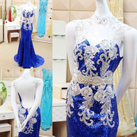 Wholesale Sexy Host - Sparking Sequined Mermaid Prom Dresses 2016 Royal Blue Party Dress Cocktail Host Roya Backless Sexy Custom Made Modern