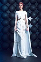 Wholesale Sexy Cut Out Prom Dresses - New Arrival 2015 White Prom Dress With Cape Cut Out Formal Party Evening Dresses