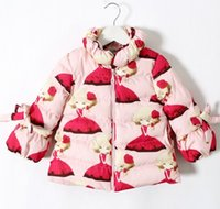 Wholesale Outwear Wind Jacket Baby - Baby Girls Solid Lined Wind Coats Butterfly Girl Printed Air Cotton Children Outwear Jackets Minnie Cartoon Long Sleeve Trech coat D5615