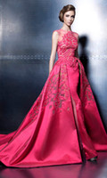 Wholesale Vestidos Formales - Vestidos Formales Ziad Nakad 2016 Sheer Neck Applique Beads A Line Long Tulle Prom Dresses Ball Gowns Evening Dresses Formal