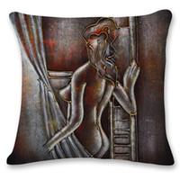 Wholesale human body prints - Human body self-portrait printing pillowcase 45cm*45cm polyester cotton cushion covers home textiles automotive decoration