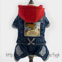 Wholesale Overalls Male Female - New leisure Winter Dog Clothes Jeans Overall Jumpsuit Rompers Pet Products Warm Red hat pet Clothes