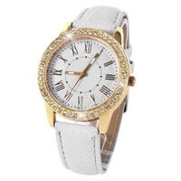 Wholesale Leather Strap Bling Watches - Attractive Luxury Roman Bling Gold Crystal Women Luxury Leather Strap Quartz Wrist Watch Free shipping AG14