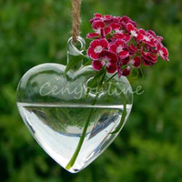 Wholesale Heart Flower Vase - Wholesale Price Transparent Hanging Glass Heart Bell Star Plants Flower Vase Hydroponic Container Wedding Gift Home Decoration