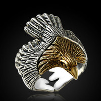 Wholesale Gold 12g - 925 Sterling Silver Eagle Ring Retro 14K Gold Decoration Men Ring Domineering Black Royal Court Style Weight 12g Width 2.7cm
