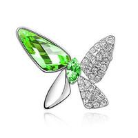 ingrosso ornamenti di cristalli-Spille di cristallo all'ingrosso Placcatura K Oro Farfalla irregolare Spilla di cristallo Lettera d'amore pinza Ornamenti popolari per la donna