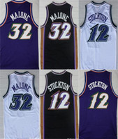 Compra M Di Jazz-Jazz # 32 Karl Malone # 12 John Stockton Throwback Retro Mesh Home Road Embroideried 100% Jersey Jersey Usura di pallacanestro