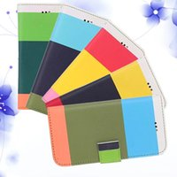 Wholesale Multi Colour Stripe Wallet - New Flip MULTI-COLOUR block Stripe Wallet case Credit Card Cases with Stand Holder Leather Cover Skin for iPhone 6 plus iphone6 5.5 4.7 inch