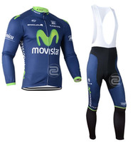 Wholesale Movistar Long Sleeve - Wholesale-Movistar Long Sleeve Cycling Jerseys Long Sleeve Racing Bicycle Clothing Roupa Ciclismo Breathable Bike Bib GEL Pad Shorts
