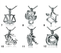Wholesale 12 Zodiac Signs Pendant - 18KGP Fashion Signs of Zodiac Pendant Mountings, Twelve Constellations style Pearl  Gem Bead Cage Lockets DIY Lucky Charm Jewelry No.7~No.12