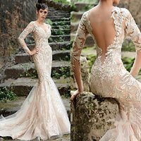 Wholesale T Shirt Little Mermaid - Rami Salamoun 2016 Evening Dresses Backless Mermaid Lace Wedding Gowns With Long Sleeves Sweetheart Neck Sweep Train