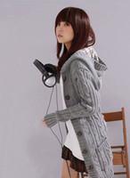 envío rápido abrigos largos al por mayor-Nuevas mujeres de manga larga abrigo largo Cardigans Trench suéter señoras coreanas solo pecho de punto suéteres envío rápido SW88563