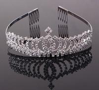 Wholesale Royal Blue Wedding Veils - NEW Royal Luxury Baroque rhinestone Wedding Crowns Bridal Veil Tiara Crown Headband performance crowns 13*4.5CM HH09