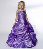 Wholesale Little Girl S Pageant Dresses - Little Girl's Pageant Dresses Purple Beads Ruffle Girl 's Formal Occasion Dresses