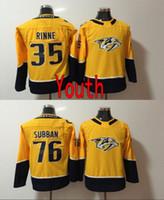 Wholesale Kids Size Hockey Jerseys - Youth Nashville Predators 2018 New Glod Kid Jerseys 76 PK Subban 35 Pekka Rinne Yellow Stitched Hockey Jerseys Size S M L XL