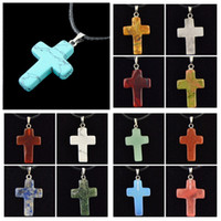 Wholesale Carved Natural Turquoise - Hot Wholesale 12pcs lot Fashion Natural Stone Turquoise Quartz Agate Malachite Carved Cross Pendants Necklace Gift MN486