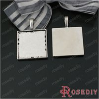 Wholesale Square Bezels - charms sweet (28515)Total 30 PCS Random Mixed Styles Trays Bezels Pendants Square and Rectangular Cabochon Beads Settings Jewelry Findings