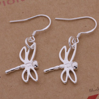Wholesale Dragonflies Earring - Fashion (Jewelry Manufacturer) 40 pcs a lot Hollow dragonfly earrings 925 sterling silver jewelry factory price Fashion Shine Earring