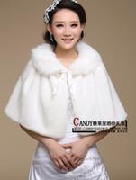 Wholesale White Fur Bride - Free Size Stock New White Wedding Jacket Wrap For Bride Faux Fur Long Wedding Wraps Plus Size Coat Shawls For Dresses