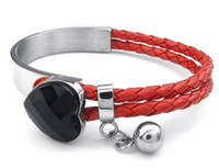 Wholesale Red Leather Braided Bracelet - Womens Leather Stainless Steel Bracelet Braided Heart Cuff Bangle Red Black Silver Drop Shipping