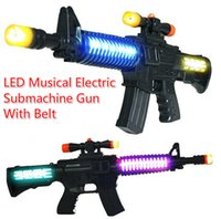 Wholesale Kids Submachine Gun - Free EMS 30pcs 52cm LED Flash Glow Electric Musical Submachine Gun with Belt Costume Dress Up Props Kids Toy Party Birthday Christmas Gift