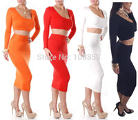 Wholesale Women S Two Piece Outfits - Sexy Club Party Dresses 2015 Women Two Piece Outfits Bandage Dress Long Sleeve High Waisted Cropped 2 Piece Bodycon Dress P0487