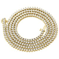 """Wholesale Martini Necklace - 10K Yellow Gold Diamond Chain Martini Prong Set 1 Row 3.50mm 27"""" Necklace 12 Ct."""