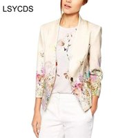 LSYCDS Women Blazer Ladies Elegant Floral Printed Single Button Beige Autunno Inverno Indossare al lavoro Business Office Suit Blazer