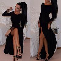 Wholesale Thigh High Maxi Dresses - 2016 Vestido de festa Charming Black Maxi Prom Dresses A Line Jewel Neck Long Sleeves High-thigh Split Formal Evening Dresses BO9972