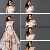 Wholesale Stretch Bridesmaid Dresses - Convertible Dresses bridesmaid dresses custom made A Line personalized Hi-Lo New Arrival Fashion Stretch Satin Fold 2015 part dresses 4139