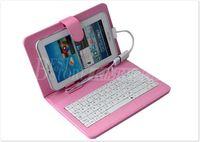 caso mid pc venda por atacado-Venda imperdível !! Estojo de couro com micro interface usb teclado para universal 7
