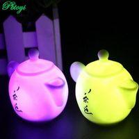 Wholesale Teapot Night Lights - Wholesale-Colorful teapot night light lamp table cute wholesale 5pcs set