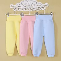 Wholesale Cheap Newborn Clothes For Girl - Wholesale-Cheap Clothing Newborn Pants Baby Boys Girls 100% Cotton Trousers Solid Color Soft High Waist Elastic Pants For Babies 0-8 month
