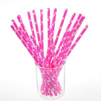 Wholesale Pink Polka Dot Straws - 125pcs lot Dot Chevron Pink Paper Drinking Straws Polka Dot Party Wedding kids birthday ecoration event supplies Straws Xmas Gift New