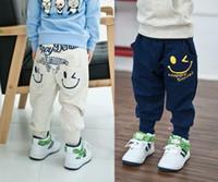 Wholesale Cute Harem Pants Pockets - Hot Sale Baby casual pants cute smile design pants kids haren pants 100% cotton children trousers blue gray 2 colors