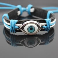Wholesale Cheap African Beads Jewelry Set - hot sale evil eye pedant braided leather chain lucky bracelet cheap jewelry bangle free shipping