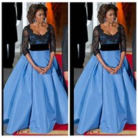 Wholesale Michelle Obama Fashion - Michelle LaVaughn Obama Classic 2016 Plus Size Formal Evening Party Dresses 3 4 Long Sleeves Ice Blue Black Lace Sequins Prom Dresses
