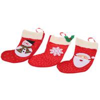 Wholesale Snowman Ornaments Sale - 3pcs Hot Sale Christmas Candy Bag XMAS Decoration Socks Stockings for Xmas Christmas Tree Hanging Snowman Ornament Candy Bag