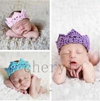 Wholesale Baby Prince Crown Hat - Newborn Baby Girl Boy Crochet Knit Prince Crown Headband Hats Hair Accessories Photo Modeling Hat BB305