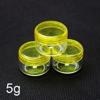 frascos de plástico amarelo venda por atacado-Recipiente cosmético plástico, frasco de creme amarelo, frasco de amostra 5g, tampa de rosca roxa