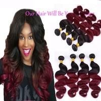 "Wholesale Mongolian Russian Mix - Peruvian Virgin Hair Body Wave 3 Bundles 1B Burgundy Ombre Hair Extensions Mixed 12""-26"" Red Hair Weave Peruvian Body Wave 100% Human Hair"