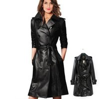 Wholesale Wholesale Leather Trench Coats - Plus Size S-2XL Motorcycle leather jackets autumn 2015 New Black leather jacket women long leather coat women leather trench Free Shipping