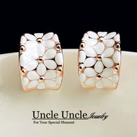Wholesale Lovely Craft - Beautiful!!! Rose Gold Color High Quality Enamel Craft Classic White Lovely Daisy Design Lady Earring Wholesale