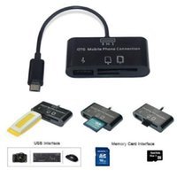 Wholesale Tablets Connection Kit - Card Reader 3in1 OTG SD Micro-SD Card Reader USB Port HUB Connection Kit For Samsung HTC LG Motorola Smartphone Mobile PC Tablets