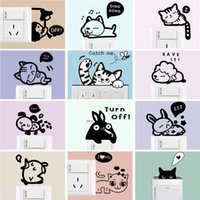 Wholesale Light Wall Sticker Switch Decoration - Wholesale Cartoon Cat- Wall Sticker Light Switch Creative- DecalMuralpaster Kids Room Decoration