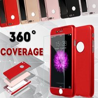 Wholesale Hybrid Slim - 360 Degree Coverage Full Body Ultra Thin Slim Hybrid Protection Tempered Glass Hard PC Shockproof Cover Case For iPhone X 8 7 Plus 6 6S 5 5S
