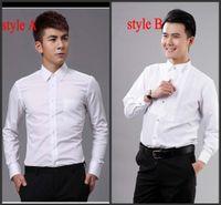 polo xxxxl toptan satış-Yeni Stil En Kaliteli Beyaz erkek Düğün Giyim Damat Giyim Gömlek erkek gömlek giyim TAMAM: 02