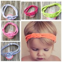 Wholesale Knit Turban Twist Headband - 20pcs New cotton baby Sailor Knot turban headbands twisted stripe head wraps girl cute headwrap knit Twist Knotted hair bands FD6556